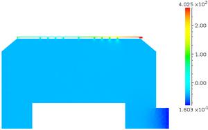 モデル1 縦断面 圧力分布 [Pa] (log スケール)