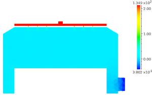 モデル2 縦断面 圧力分布 [Pa] (log スケール)