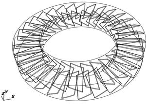モデル図。上側が動翼、下側が静翼。上側が吸気側、下側が排気側。